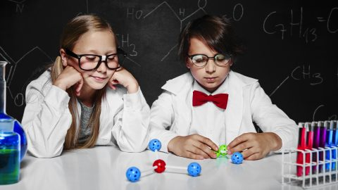 Geeky Kids Playing Scientists