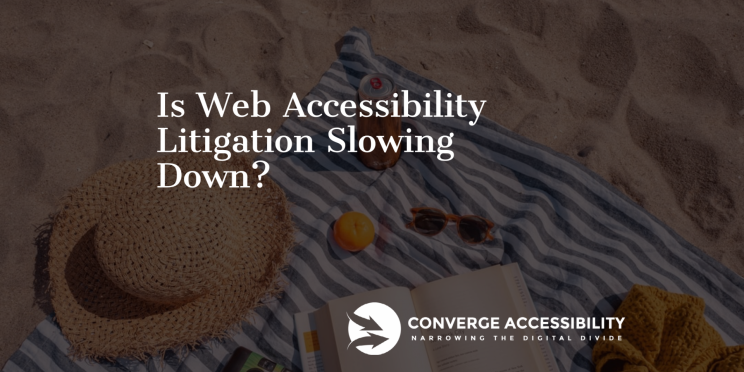 "Beach Background Scene with Text ""Is Web Accessibility Litigation Slowing Down?"""