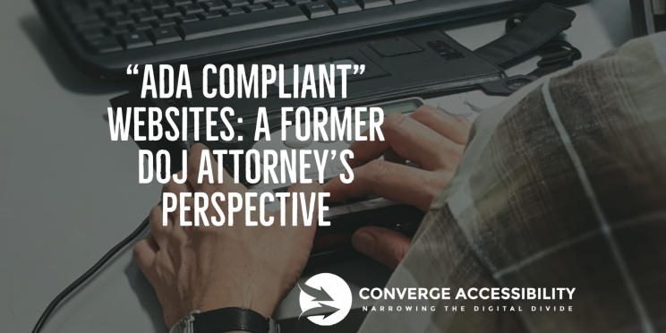 """Background Image with Text, """"ADA Compliant Websites: A Former DOJ Attorney's Perspective"""""""