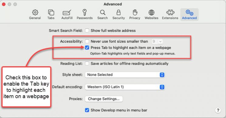 Safari Advanced Settings Dialog