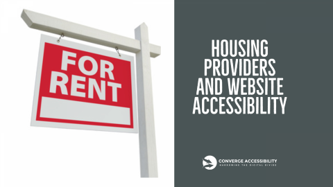 "For Rent Sign and Text ""Housing Providers and Website Accessibility"""