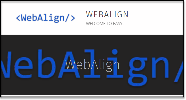 Screen capture of the WebAlign home page showing the WebAlign banner.