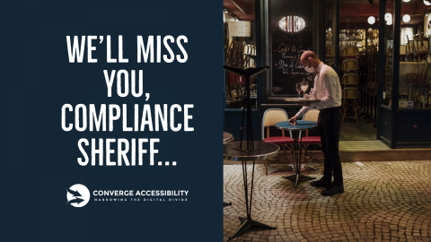 """Closed bar with text """"We'll Miss You, Compliance Sheriff"""""""