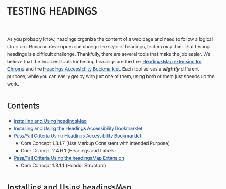 Screenshot from WebAlign showing example describing free tools for testing headings.