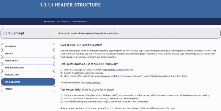 Screenshot from WebAlign for testing header structure.