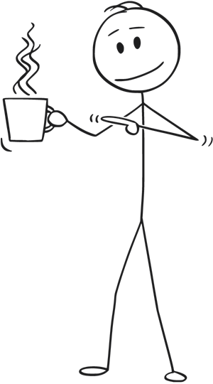 Stickman with a cup of coffee.