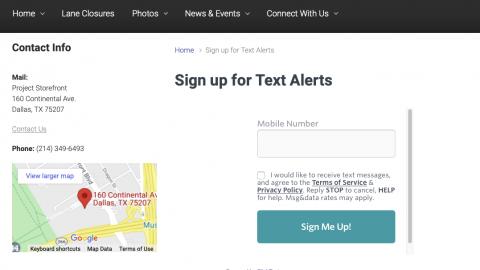 Screen shot of TxDOT page showing iframe that contains form controls.