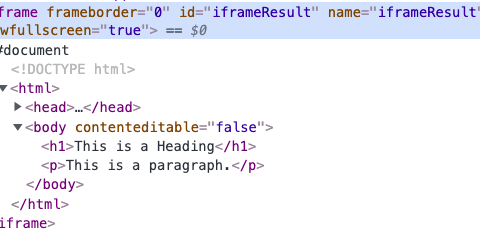 Screen shot showing the iframe attribute without a source attribute.
