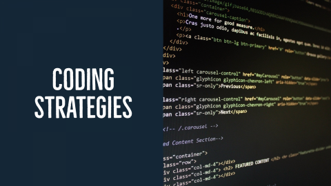 """Background image with text """"Coding Strategies"""""""