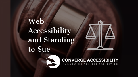 """Background Image with Text, """"Web Accessibility and Standing to Sue"""""""